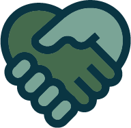 partnership icon hands and heart color